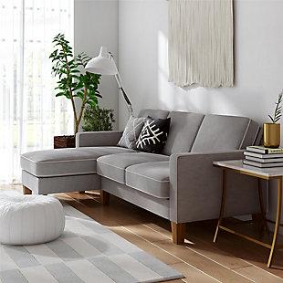 Novogratz L Shaped Bowen Sectional Sofa, Gray, rollover