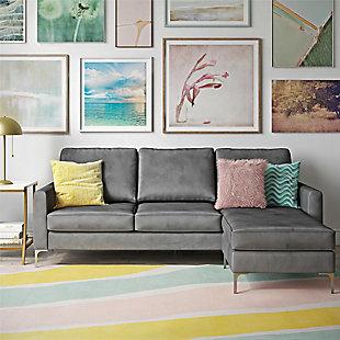 Novogratz Chapman Sectional Sofa with Chrome Legs, Gray, rollover