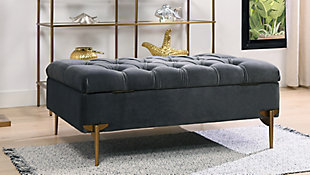 ACG Green Group, Inc. Upholstered Storage Bench Cocktail Ottoman, , rollover