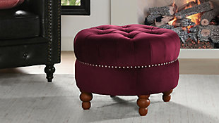 ACG Green Group, Inc. Victorian Tufted Round Ottoman, , rollover