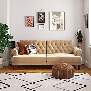 Novogratz  Upholstered Velvet Cassidy Convertible Couch, Ivory, rollover