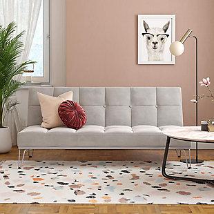 Novogratz  Elle Convertible Sofa Bed and Couch, Gray, rollover