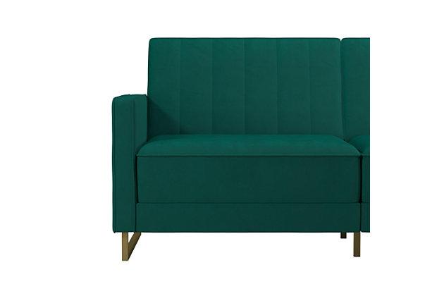 Novogratz  Skylar Velvet Coil Futon, Green, large