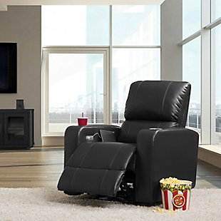 Tucson Gel Leather Recliner, Black, rollover