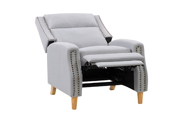 Lynwood Recliner Chair with Nail Head Trim, Light Gray, large