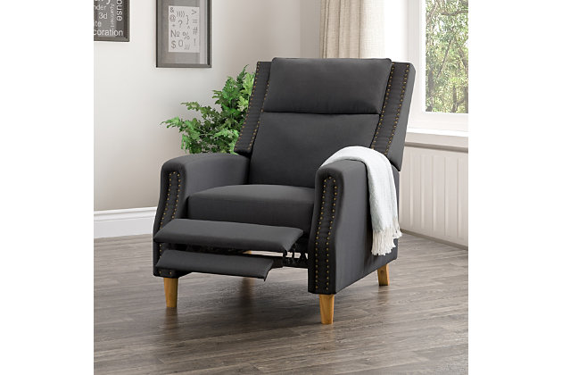 Lynwood Recliner Chair with Nail Head Trim, Gray, large