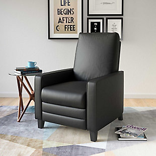 Kelsey Bonded Leather Recliner, Black, rollover