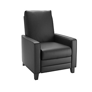 Kelsey Bonded Leather Recliner, Black, large