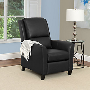 Kate Bonded Leather Recliner, Black, rollover