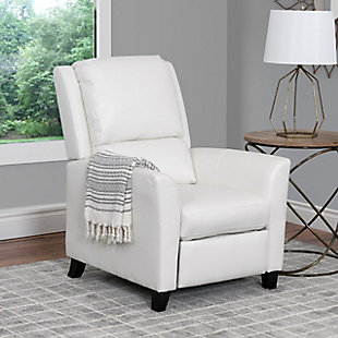 Kate Bonded Leather Recliner, White, large