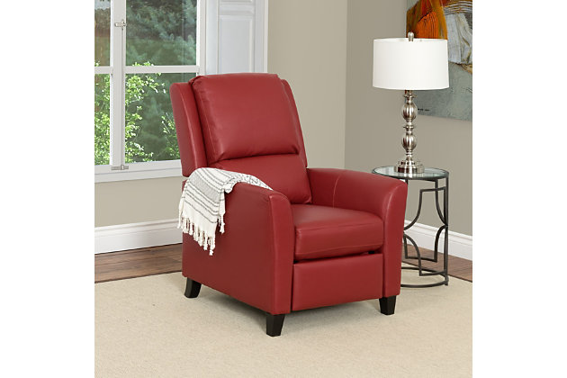 Kate Bonded Leather Recliner, Red, large