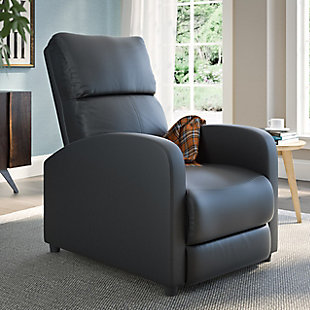 Moor Bonded Leather Recliner, Black, rollover