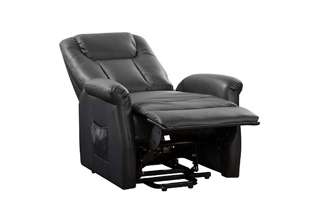 Arlington Gel Leather Power Lift and Rise Recliner, Black, large
