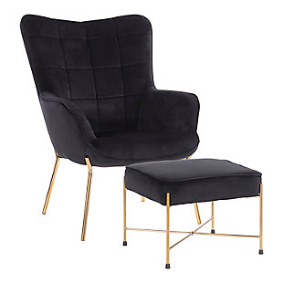 LumiSource Izzy Lounge Chair and Ottoman Set, Gold/Black, rollover