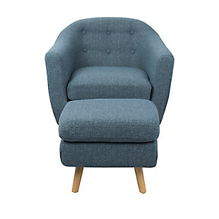 LumiSource Rockwell Chair and Ottoman Set, Natural/Blue, large