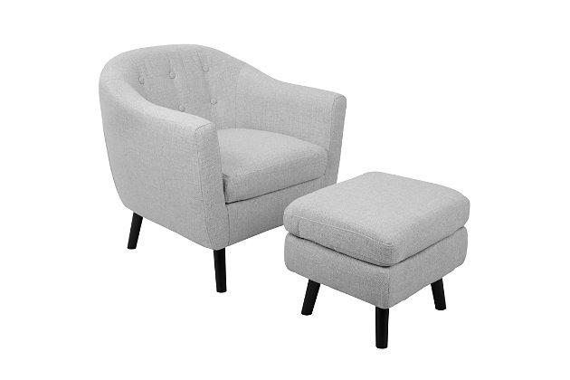 LumiSource Rockwell Chair and Ottoman Set, Black/Light Gray, large