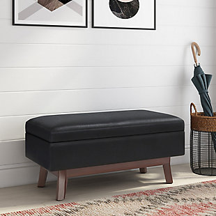 "Simpli Home Owen 36"" Wide Mid Century Modern Rectangle Small Rectangular Storage Ottoman, , rollover"