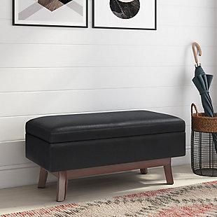 "Simpli Home Owen 36"" Wide Mid Century Modern Rectangle Small Rectangular Storage Ottoman, Black, rollover"