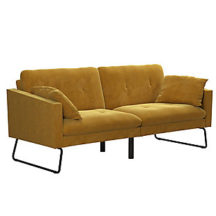 Mr. Kate Neely Futon with Bolster Pillows, Mustard, large