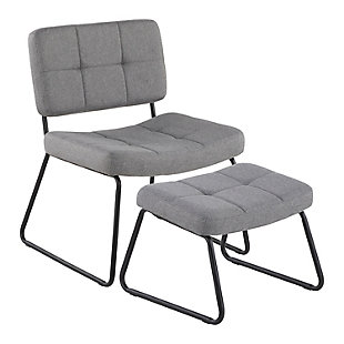 LumiSource Stout Lounge Chair and Ottoman, Gray, large
