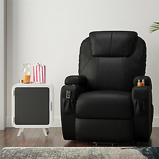Atwater Living Lincoln Home Theater Power Lift Massage Recliner, Black, rollover