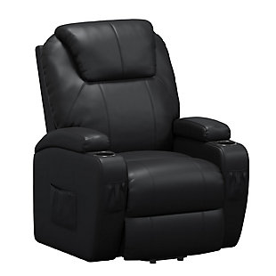 Atwater Living Lincoln Home Theater Power Lift Massage Recliner, Black, large