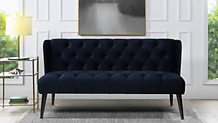 Jennifer Taylor Home Silvia Tufted Wingback Settee, Blue, rollover