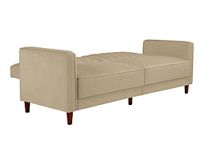 Pin Tufted Transitional Futon, Tan, rollover