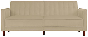 Pin Tufted Transitional Futon, Tan, large