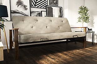 "Bergen Wood Arm Futon with 6"" Coil Mattress, , large"