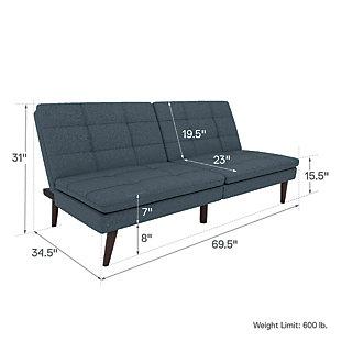 Premium Westbury Linen Pillowtop Futon, Navy, large