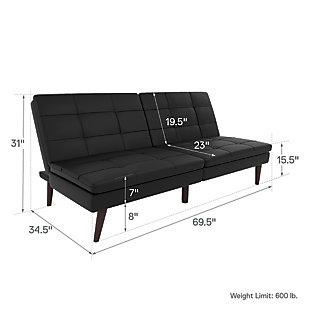 Premium Westbury Linen Pillowtop Futon, Black, large