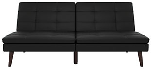 Premium Westbury Linen Pillowtop Futon, Black, large