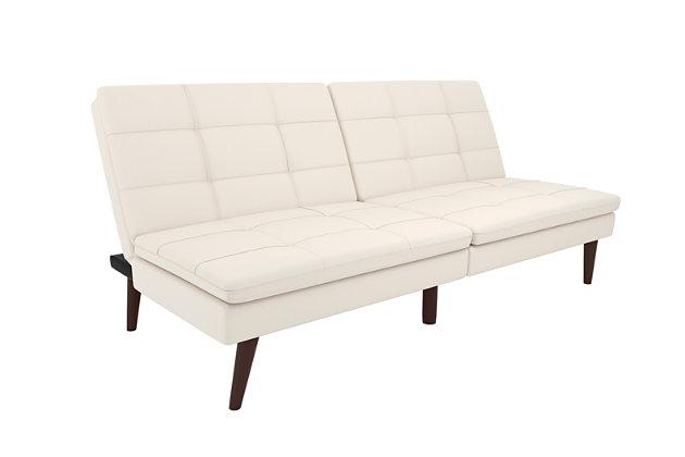Premium Westbury Linen Pillowtop Futon, White, large