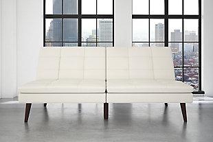 Premium Westbury Linen Pillowtop Futon, White, rollover