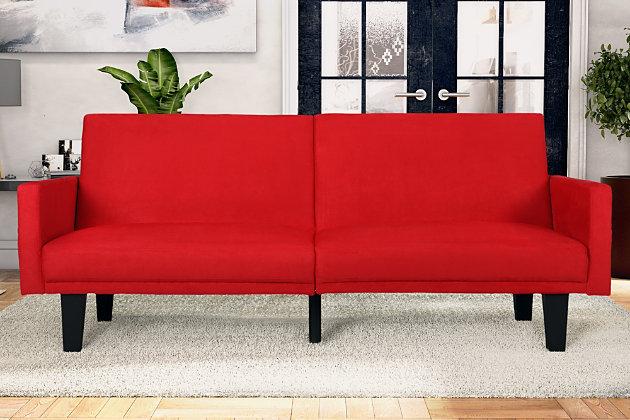 Heidi Futon with Storage Pockets, Red, large