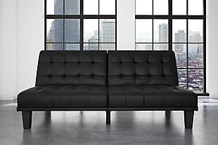 Mark Futon & Lounger, Black, rollover