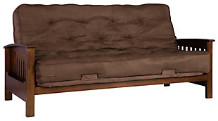 Hewitt Wood Arm Futon with Coil Mattress, , large