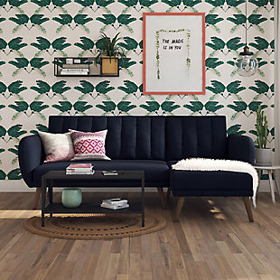 Novogratz Brittany Sectional Futon Sofa, Blue, rollover