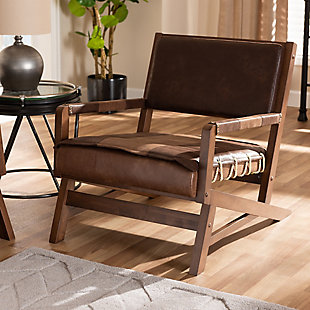 Baxton Studio Rustic Upholstered Lounge Chair, , rollover