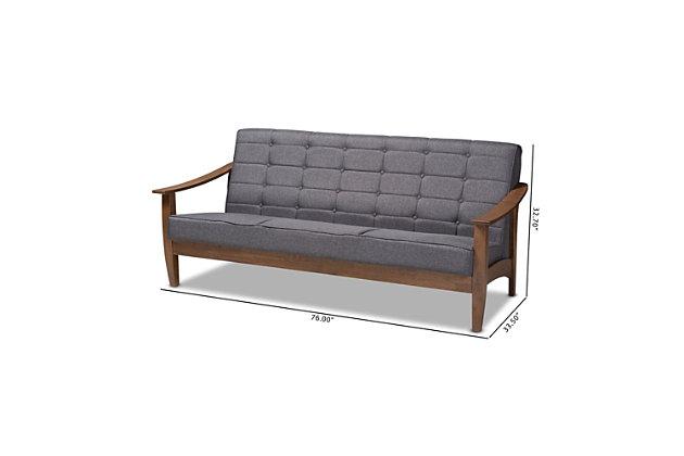 Baxton Studio Mid-Century Modern Sofa, , large