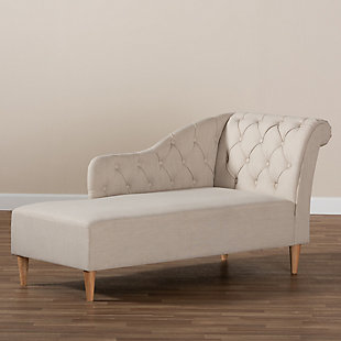 Baxton Studio Modern Upholstered Chaise Lounge, Beige, large