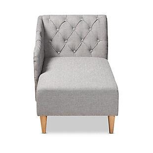 Baxton Studio Modern Upholstered Chaise Lounge, Gray, large