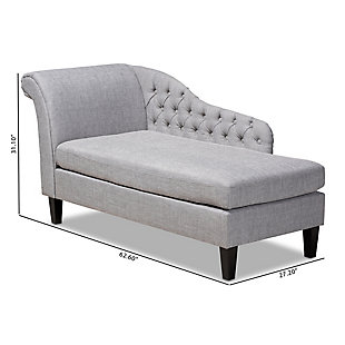 Baxton Studio Modern Upholstered Chaise Lounge, Gray, large