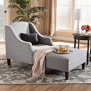 Baxton Studio Modern Upholstered Chaise Lounge, Gray, rollover