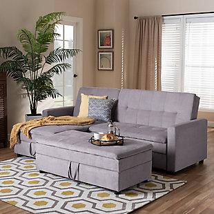 Baxton Studio Noa Modern Sleeper Sofa with Ottoman, Gray, rollover