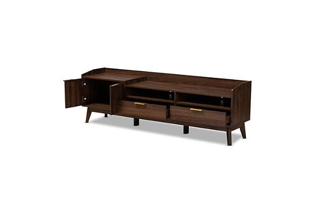 Baxton Studio Mid-Century Modern 2-Drawer TV Stand, , large