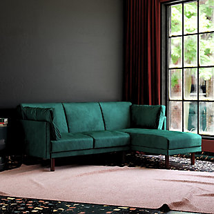Atwater Living Atwater Living Roxy Coil Sectional Green Velvet Futon, , rollover