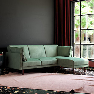 Atwater Living Atwater Living Roxy Coil Sectional Light Teal Velvet Futon, Teal, rollover