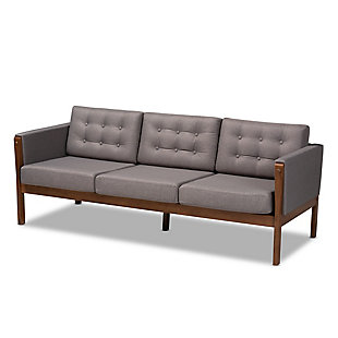 Baxton Studio Lenne Mid-Century Modern Gray Fabric Upholstered Walnut Finished Sofa, , rollover